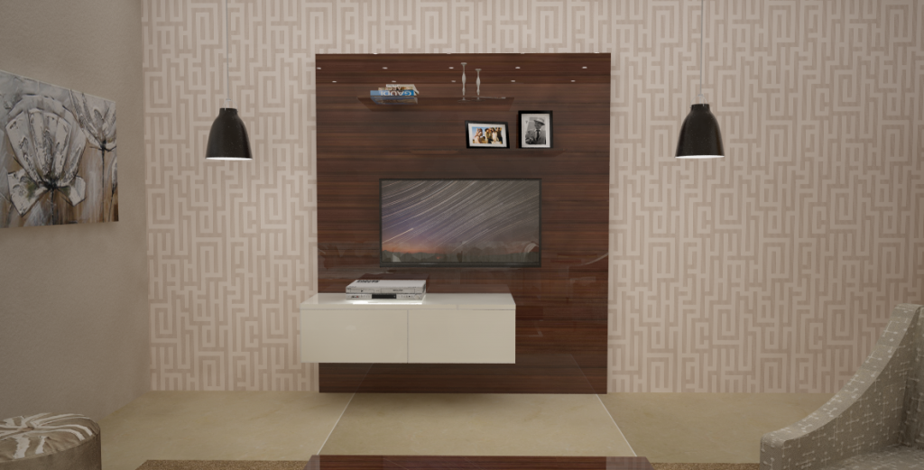 Try a warm white light source. Entertainment Unit from Homelane