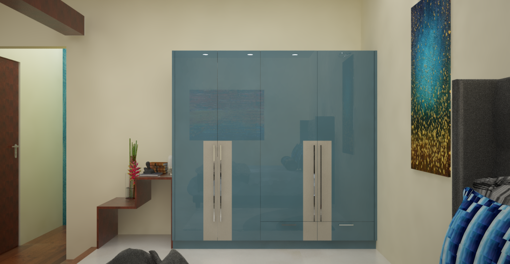 HomeLane modular contemporary wardrobe: light and glossy