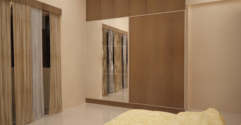The gallery for loft bedroom for Bedroom wardrobe shutter designs