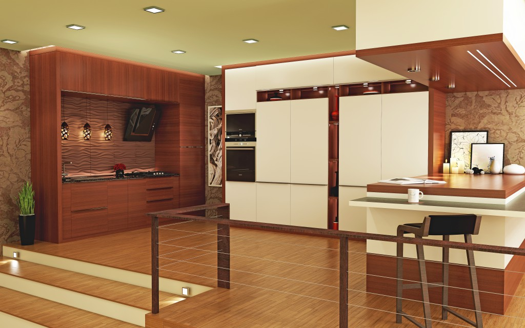 Good HomeLane Modular Kitchen With Breakfast Bar Part 22