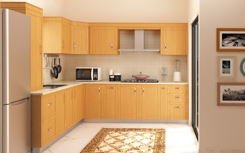5 modular kitchen designs with a wood finish homelane for Kitchen designs modular