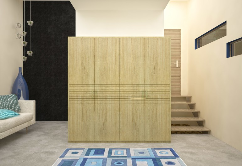 HomeLane modular contemporary wardrobe: grooved pattern
