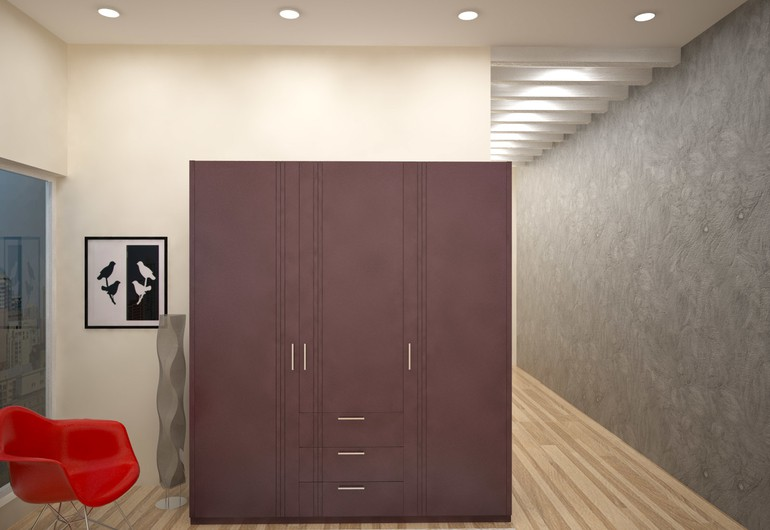 Homelane modular contemporary wardrobe: suede finish