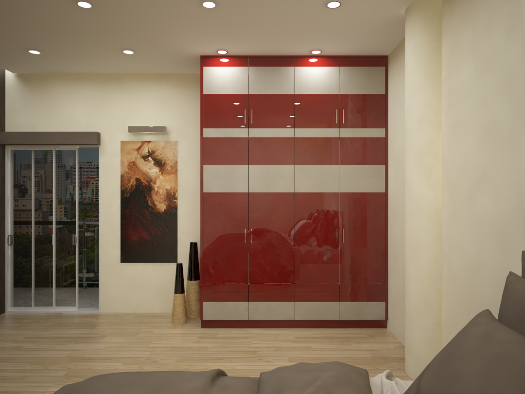 HomeLane modular contemporary wardrobe: going red