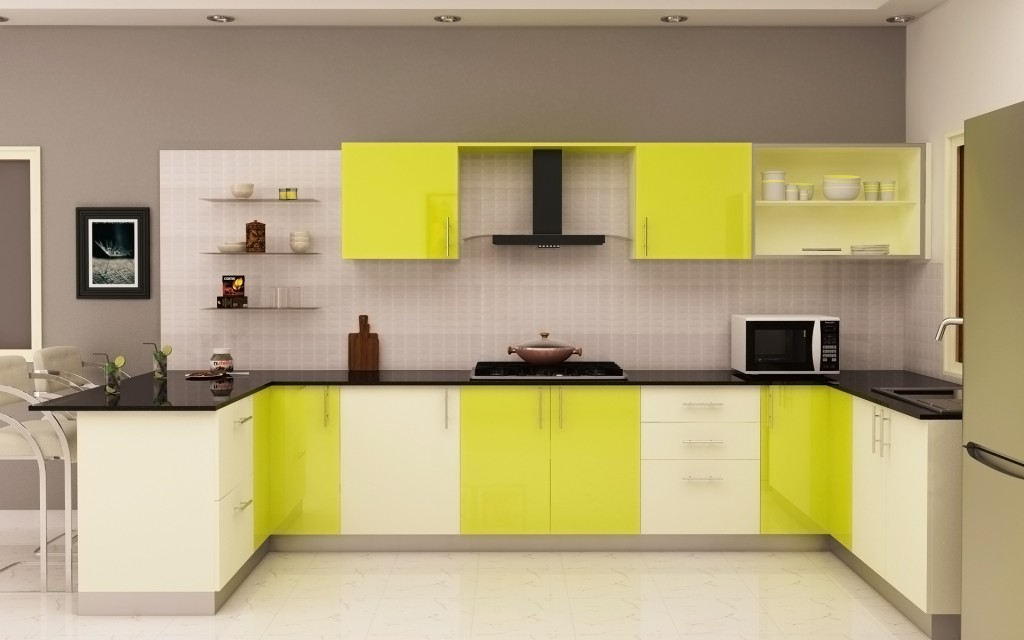 HomeLane Modular Kitchen: Glossy Lime Green And White