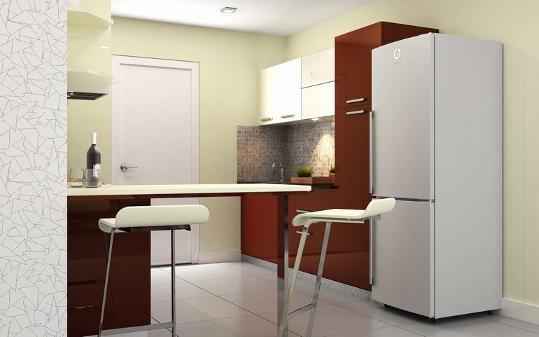 Try bright solid colours: Parallel kitchen from HomeLane