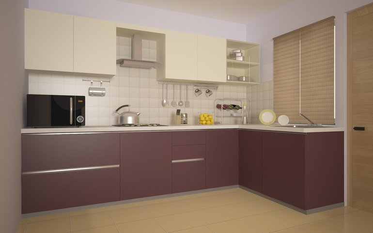 Elegant Spacious Work Triange: L Shaped Modular Kitchen From HomeLane Part 15