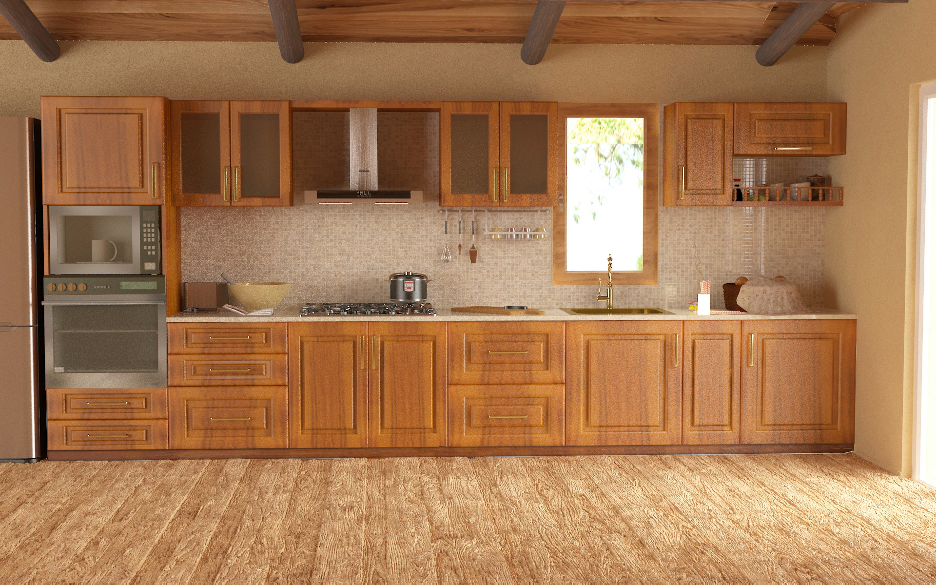 straight line kitchen layout images