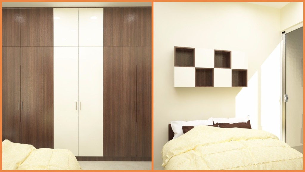 Neutral coloured bedroom with wardrobes and a souvenir rack above the bed