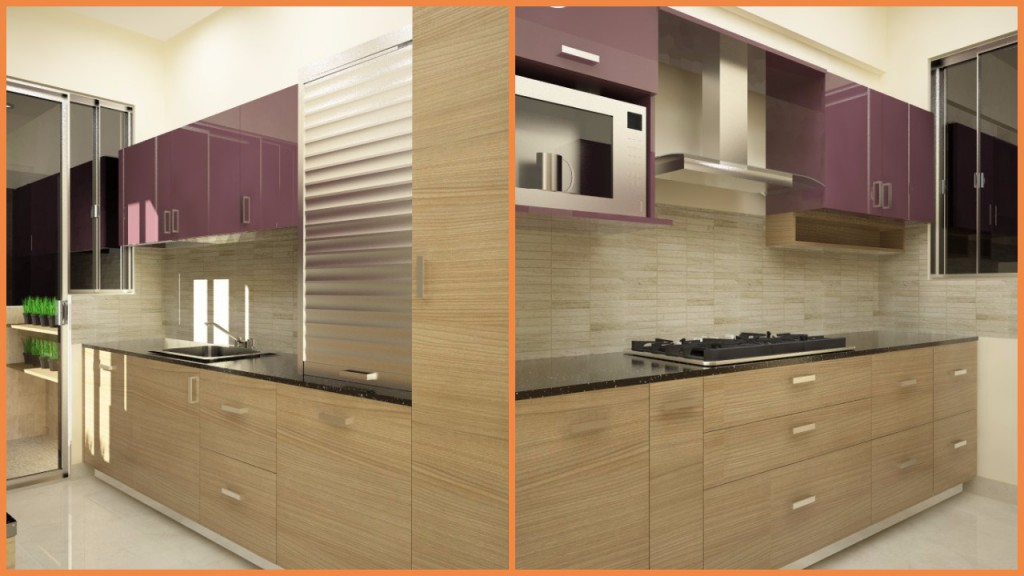 Parallel kitchen with storage and a kitchen garden