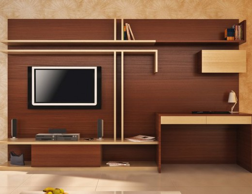 Entertainment unit with study table from HomeLane