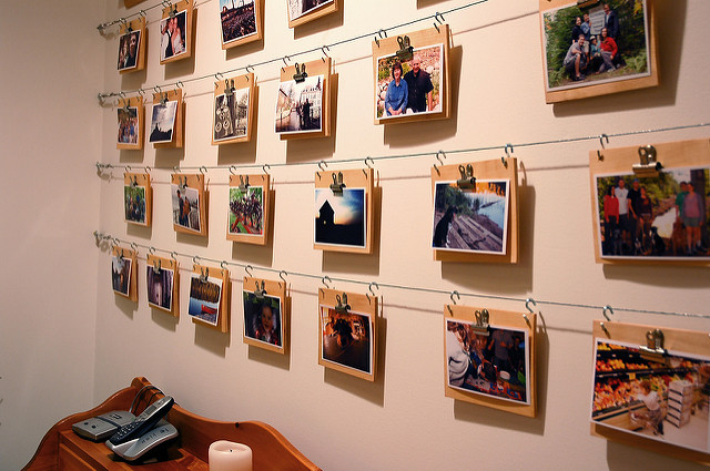 Wall display of photos